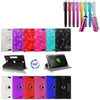 """BTC Flame 7"""" Tablet Cover 360 Rotation Pu Leather Stand Case Bling Plain Cover"""