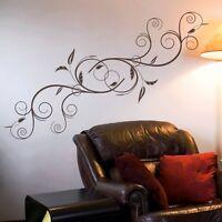 n0054 blumen ornament wandtattoo wandaufkleber wohnzimmer schlafzimmer flur ebay. Black Bedroom Furniture Sets. Home Design Ideas
