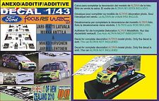 ANEXO DECAL 1/43 FORD FOCUS LATVALA & HIRVONEN R.NEW ZEALAND 2010 1st & 4th (01)