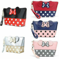 Women Minnie Mouse Polka Dots Travel Make Up Cosmetic Bag Case Handbag Portable