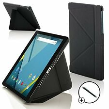 Leather Black Folding Case Cover for HTC Google Nexus 9 Screen Prot & Stylus