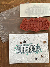 Stampin Up retired MERRY clear Stamp & SNOWFLAKES Embossing folder ~ Christmas