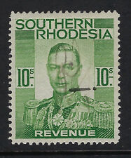 SOUTHERN RHODESIA: 1937 GVI  10/- Revenue stamp  BFT20 used