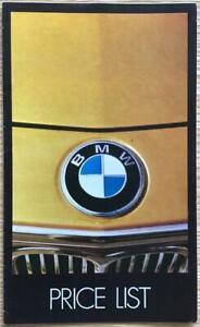 BMW Car Price List Jun 1973 #1647/50M/EJD673  2002 2002tii 520 2500 3.0SA 3.0CSL