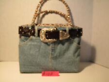 Women's Jean handbag, with beaded handles