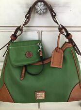 Dooney Bourke 2-Piece Harrison Hobo Shoulder Bag & Wallet Pebbled Leather GREEN