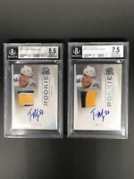 BGS 8.5 , BGS 7.5 TYLER MYERS 2009-10 UD The Cup AUTO ROOKIE 3 COLOR PATCH SER#