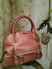 "Authentic Chloe Designer ""RARE"" Red Edith Leather Satchel Tote Bowling Handbag"