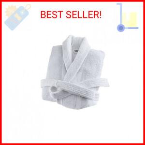 "Deluxe Luxury Mens Robe 100% Cotton White Soft Terry Bathrobe Size L 49""Long NEW"
