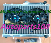 QLD 42mm aluminum radiator For Skyline R33 R34 GTR GTST RB25DET Manual + Fans