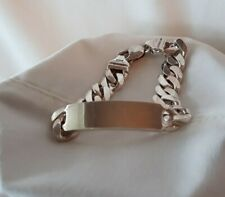 """925 Italy Ster Curb Link Lobster clasp ID Bracelet 7.75"""" 44grams NO Monogram!"""