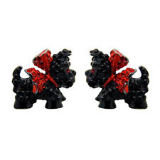 Butler e Wilson Black Crystal SMALTO Scottie Dog Orecchini Nuovi