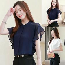 Fashion Summer Womens Button Down Shirt Ruffle Casual Business Shirt Blouse Tops
