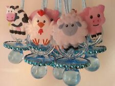 12 Barn Farm Animals Pacifier Necklaces Baby Shower Games Boy Blue Favors Prizes