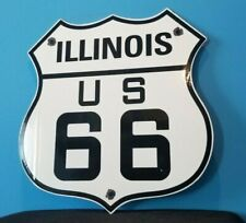 VINTAGE US ROUTE 66 PORCELAIN METAL GASOLINE AUTO ILLINOIS ROAD SHIELD SIGN
