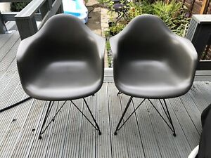 Charles and Ray Eames Plastic Armchairs by Vitra x2  Chairs Grey Dated 2014