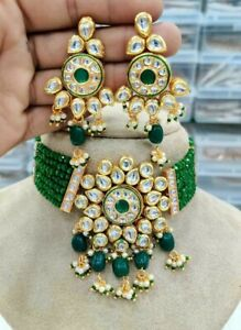 Bollywood Indian Gold Plated Jewelry Kundan Choker Necklace Earrings Green Set