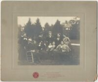 1890s Velox Sample Photograh Print Cabinet Card w/ Well-Dressed Family in Field