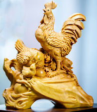 TL079ca - 10*8*4.5 CM Detailed Carved Boxwood Carving - Rooster Family