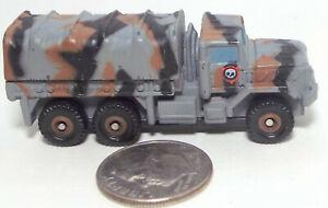 Small Micro Machine Plastic M-923 Military 6X6 Truck in Gray/Black/Brown Camo #2