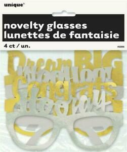 4 Pair Graduation Novelty Glasses Silver and Gold 4 styles