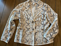 Coldwater Creek Floral Print Blazer Jacket Leaves Branches Cream Black Women (M)