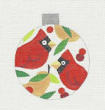 So ~ Cardinals & Pears Hp Ornament Needlepoint Canvas by Raymond Crawford