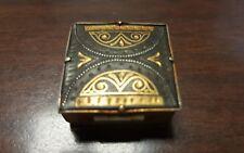 Vintage  Square Pill Box Gold Tone Metal