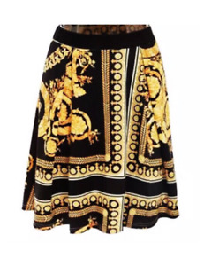 Black And Gold Paisley Printed A line Stretch High Waist Skirt
