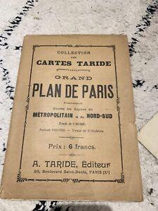 ANCIEN PLAN TARIDE Grand Plan De Paris 110x136 Cm