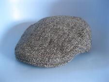 HARRIS TWEED | Men's Black White Herringbone John Rocha Flat Cap Hat | Size L