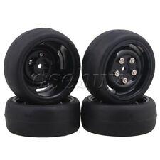 4 x RC1:10 On Road Car 65mm OD Smooth Rubber Tire & 4 Hole Wheel Rim Black