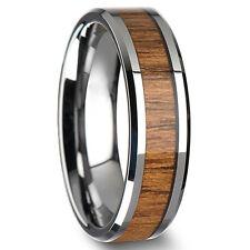 BA_ Herren Damen kreativ breiter Ring Holz Titan Edelstahl Size 6-12 viel Bluel