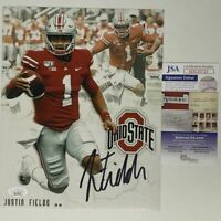 Autographed/Signed JUSTIN FIELDS Ohio State Buckeyes 8x10 Photo JSA COA #2