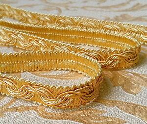 5,0 lfm Luxus Posamentenborte 16  mm 0,98 €/m Honiggelb Gold  Spitze Band Brokat