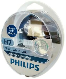 H7 PHILIPS White Vision Ultra 4200K plus blanche  plus W5W 12972WVUSM
