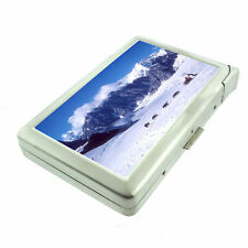 Alaska Images D3 Cigarette Case with Built in Lighter Metal Wallet Dog Sledding