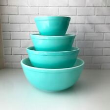 VTG Pyrex Turquoise Robin Egg Blue nesting Mixing Bowl SET Aqua 401 402 403 404
