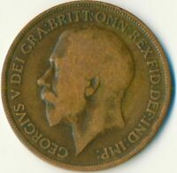 1919H (HEATON MINT/BIRMINGHAM) ONE PENNY GEORGE V. GREAT BRITAIN     #WT11014
