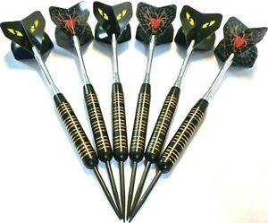Black Coated Steel Tip Darts Set  2 SETS / 6 PIECE VALUE PACK + shafts + flights