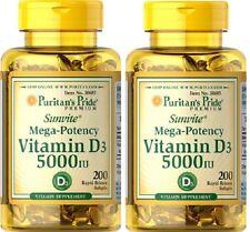 2X Vitamin Vit D3 5000iu 200 ( 400 ) softgels - Puritans Pride 24HR DISPATCH