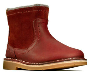 Clarks COMET FROST RED Girls Leather Zip Boots 5 - 7 FG Fit NEW BOXED