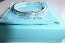 Tiffany & Co Atlas Brazalete de plata de ley + bolsa + Caja buena condición 100% Gen