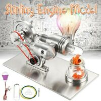 New Hot Air Stirling Engine Model Generator Motor Steam Power Toy with Ligh Kit