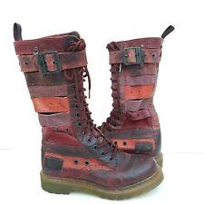 Dr. Martens Original Women Thema Belt Boots RARE Red Oxblood Burgundy Sz 6 US