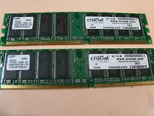 Crucial/Samsung 1GB lot (2ea/512mb) PC3200 DDR1 NON-ecc modules 184-pin 400mhz