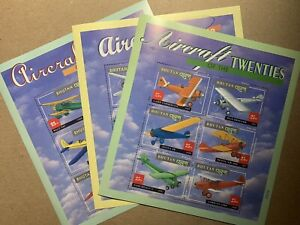 LEGENDARY AIRCRAFT OF THE 1920'S, 30'S 40'S SET OF 18 MINT STAMPS 3 SHEETS #3696