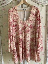 $465 NEW Elizabeth James RED CREAM FRENCH TOILE  mini Dress Zimmerman style S