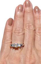 Platinum Princess-Cut Diamond Engagement Three Stone Architectural Ring ZEI 6.5