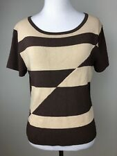 Finity Womens Sweater Brown Beige Geometric Pullover Large